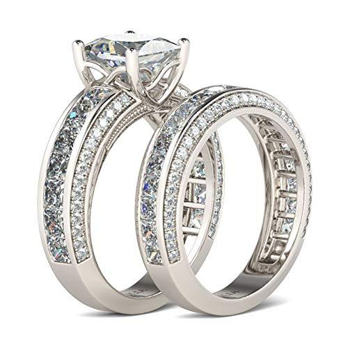 Jeulia Damen Sterling Silber Ringe Set Prinzess-Schliff 4-Prong Diamant Ringe Set Schmuck für Braut Hochzeit Band Verlobungsring Trauring Ehering (Sterling Silber, 57 (18.1))