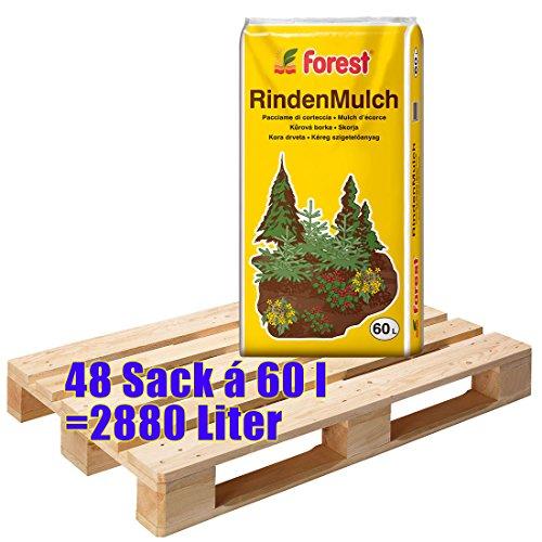 1 Palette FOREST Rindenmulch 48 Sack mit je 60 Liter = 2880 Liter Mulch mit 0 - 40 mm Körnung