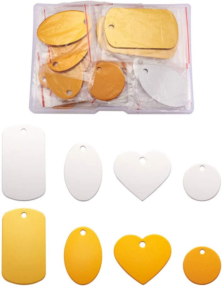 Kissitty 32pcs Box OFFicial mail order Aluminum Blank Tags Colors 2 Rectang Stamping Free shipping