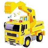 HERSITY Bagger Spielzeug mit Sound und Licht Baufahrzeug Sandkasten LKW Kinderspielzeug Geschenk für Kinder Jungen 3+, 1:20 Autospielzeug