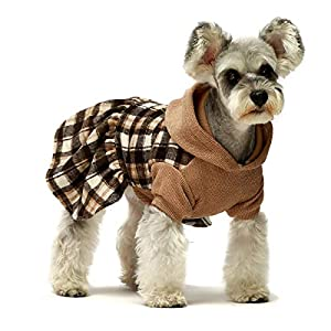 Fitwarm Knitted Plaid Dog Dress Hoodie Sweatshirts Pet Clothes Sweater Coats Cat Outfits Pink