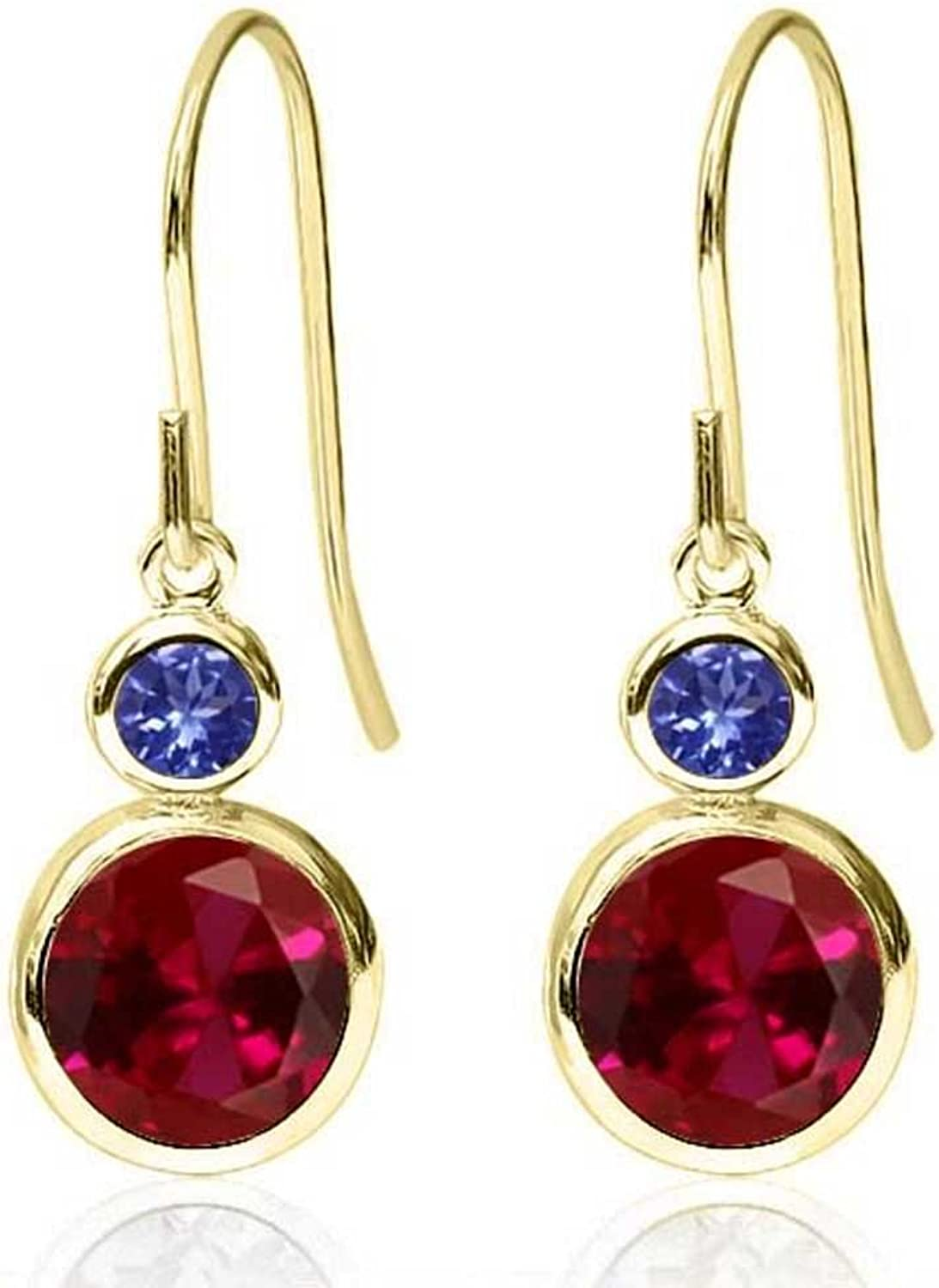 2.24 Ct Round Red Created Ruby bluee Tanzanite 14K Yellow gold Earrings