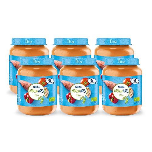 Naturnes Bio Zoete Aardappel, Paprika, Tomaat, Kip 8+ maanden babymaaltijd - 6 potjes van 190 gram