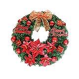 Zhongwei - Corona di Natale Corona di Natale - Decorazioni natalizie Corona di Natale Ornamenti Decorazioni Vetrina Porta del regalo Porta appesa Decorazione Puntelli Regali creativi (sei colori dispo