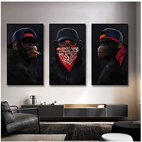 Resumen Gafas modernas Auriculares Música Hip Hop Mono Póster grande Arte de la pared Imágenes Impresión en lienzo Pintura Decoración del hogar 40x60cm (16x24in) × 3