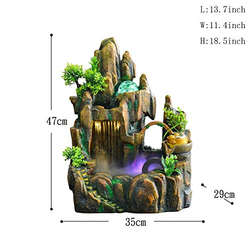 Statues Water Ornaments,Rockery Water Fountain Desktop Decoration Tabletop Fountain with Light Home Decoration-Decoration 18.5inch