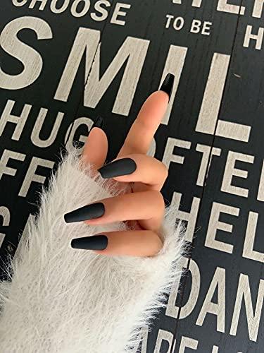 AiN Katy - schwarz lang - Nägel falsche künstliche selbstklebend - 24 Stück - press on nails - fertig zum aufkleben - elegante fingernägel - kurz lang kinder fingernagel set long