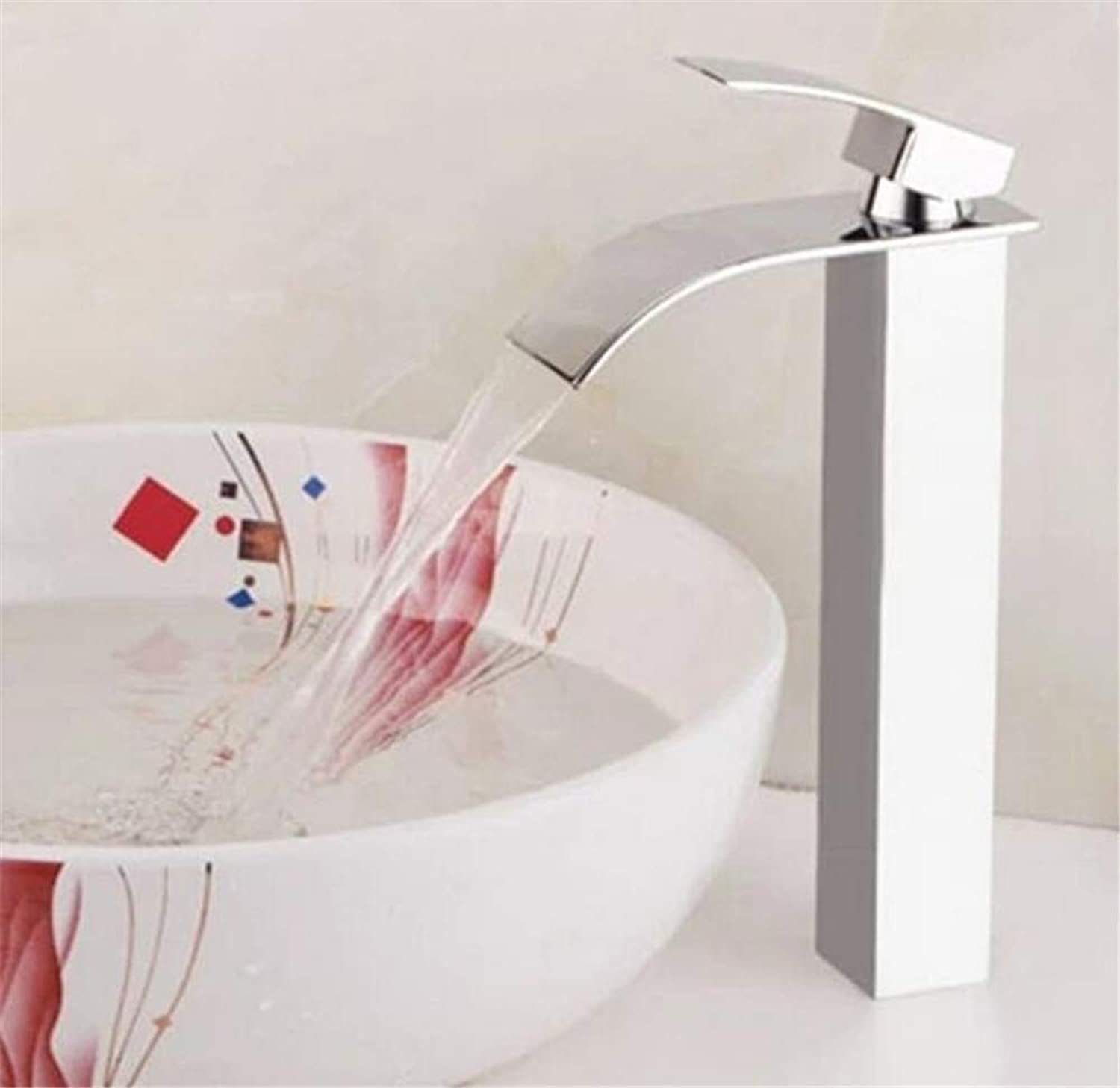 Oudan Basin Faucet Brass Nickel Waterfall Bathroom Sink Faucet Single Handle Big Square Lavatory Deck Hot Cold Mixer Tap Crane,A (color   A, Size   -)