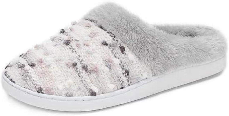 Pescool Women's Memory Foam Plush Slip on Sweater Knit Fuzzy House Slippers