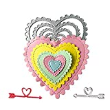 Heart Cutting Dies with Arrow Embossing Stencil in Dies-Cutting Machine for Card Making Scrapbooking(6pcs/Pack Heart die cuts)