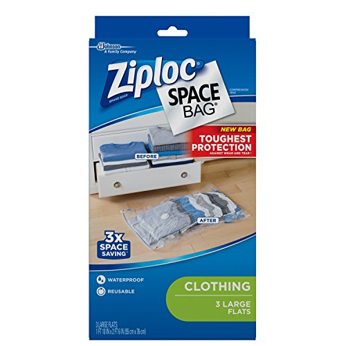Ziploc Flat Space Bags, for Organization and Storage, Reusable, Waterproof Bag, Pack of 3 (L)