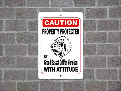 "Lplpol Property Protected By Grand Basset Griffon Vendéen Guard Hund Warnung Hof Zaun Rasse Metall Aluminium Schild 20,3 x 30,5 cm, Aluminium, einfarbig, 8"" x 12"""