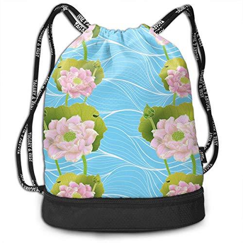 wwoman Lotus-Pfannen und Knospen Drawstring-Tasche für Männer und Frauen, athletische Schulter-Beutel des Polyester-100%