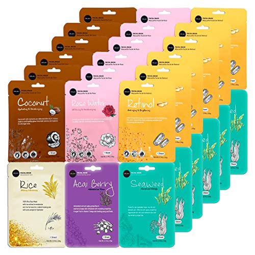 Celavi Essence Facial Face Mask Paper Sheet Korea Skin Care Moisturizing 6 packs for each 6 flavors (New B) K-Beauty Skincare 36 masks in a pack Made in Korea