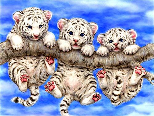 DIY diamante pintura animal tigre paisaje completo diamante cuadrado redondo diamante bordado 5D punto de cruz decoración lindo tigre cachorro