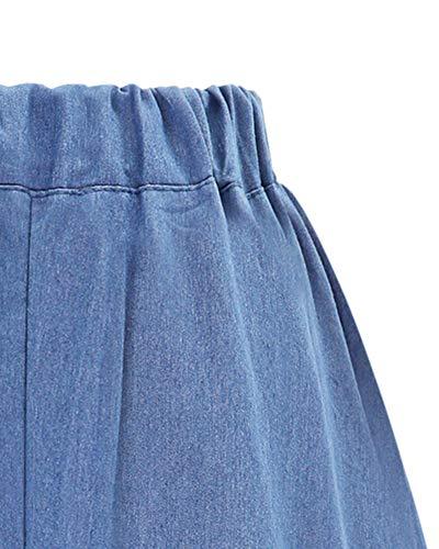 DianShaoA Mujeres Largo Denim Falda De Mezclilla con Botones Casual Jeans Vaqueras Plisada Azul Zarco M