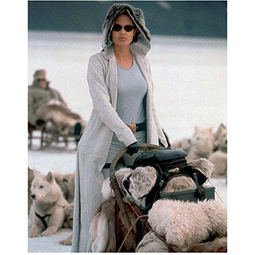 Angelina Jolie Lara Croft Tomb Raider Wearing Hooded Coat Sunglasses Holding Dog Sled White Dogs Laying in Background 8 X 10 Inch Photo
