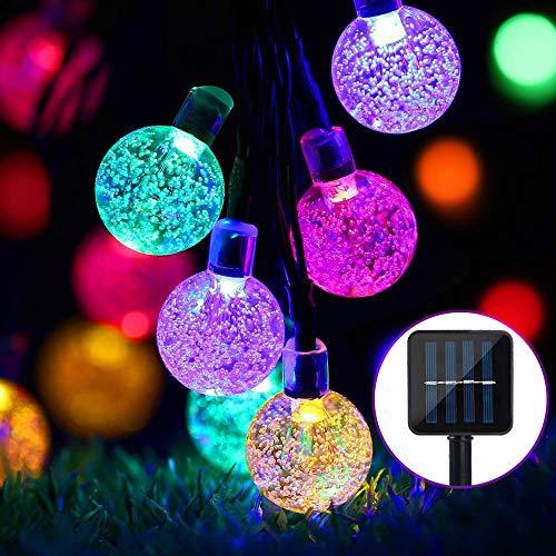 Guirnalda de luces solares para exteriores, 24 pies, 50 LED, luces solares de jardín, impermeable, bola de cristal, luces decorativas para el hogar, jardín, fiesta, Navidad, festival(Vistoso)