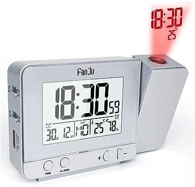 PANGUN Fanju Fj3531 Proyección Despertador USB Cargador Snooze Doble Alarma Retroiluminación Reloj De Escritorio