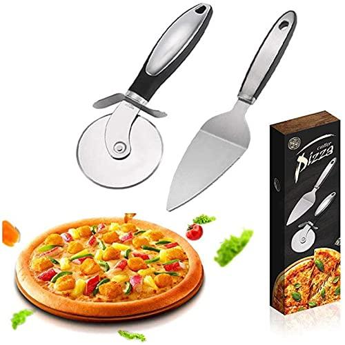 XinLuMing Corte de Pizza Conjunto de 2 Piezas, Rueda de Corte de Pizza + Cuchilla de Pizza, Cuchilla Antideslizante de Acero Inoxidable Cortador de Rodillo para Hornear casero Pizza, Pastel, Waffle