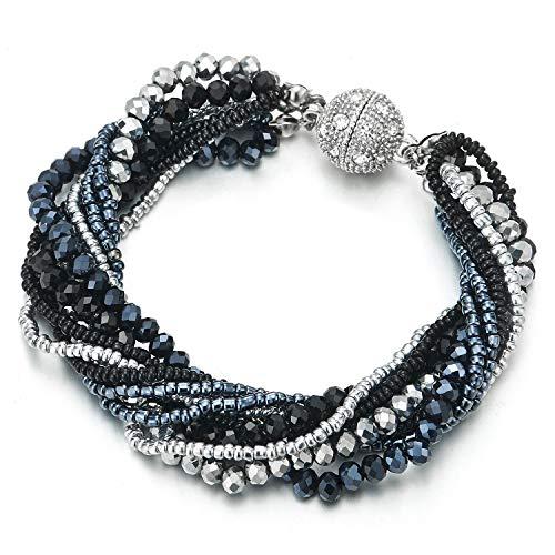 COOLSTEELANDBEYOND Mujer Niñas Plata Negro Azul Oscuro Cristal Perla Multi-Hilo Pulsera con Rhinestones Bola Colgantes Cierre Magnético