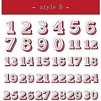 30枚 アルファベット 3D文字 数字 シール デコステッカー アンティーク調 コラージュ レトロ