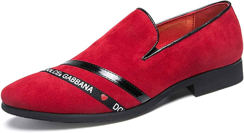 YAN Herren Formelle Schuhe Wildleder Herbst & Winter Casual Loafers & Slip-Ons Schwarz Rot   Hochzeit Party & Abend (Farbe   Rot, Gre   44)