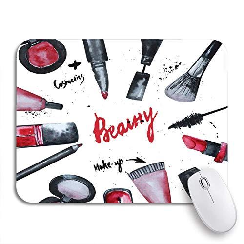 Gaming mouse pad aquarell glamouröses make-up von kosmetika nagellack und lippenstift rutschfeste gummi backing mousepad für notebooks computer maus matten