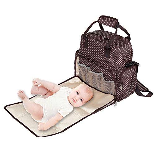 Meisax Multifunktionale Wickeltasche Tote Bag Schultertasche Handtasche für Mutter Baby Wickelrucksack mit Großem Volumen für Flaschen, Windeln, Babykleidung Unterwegs (kaffee-weiß Punkt)