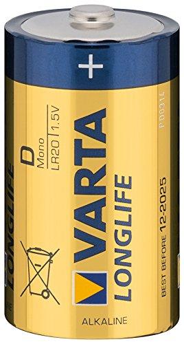 Mono-Batterie VARTA LONGLIFE Alkaline, 1,5V, Typ D, 2er Blister (2er Set)