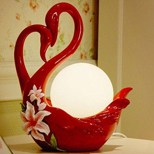CSD Nueva boda creativa roja caliente práctica dormitorio mesita de noche Swan lámpara de mesa Regalos de boda europeos personalizados, E14, interruptor de atenuador, interruptor de botón pulsador