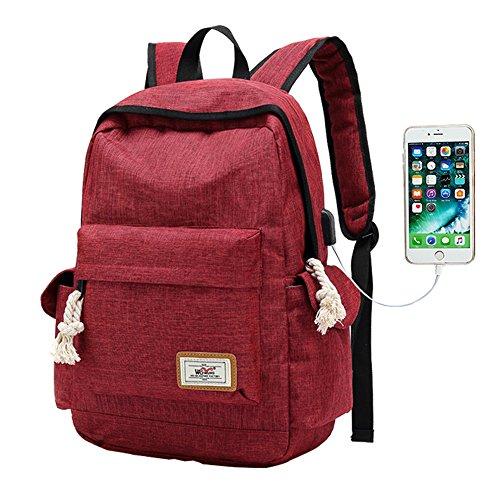 YONiMO バックパック USBポートイヤホンポート 大容量 耐衝撃 PCリュック USB延長コード付き 通勤 通学 旅行 出張 男女兼用 お洒落 多機能バッグ 3色 (赤色)