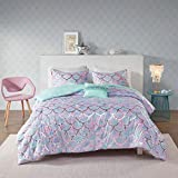 3 Piece Aqua Purple Fish Scale Comforter Twin Twin XL Set, Blue Pink Rainbow Kids Bedding Teen Bedroom Ombre Pattern Whimsical Flair Metallic Sparkles Glitter Bright Colorful Reversible, Microfiber
