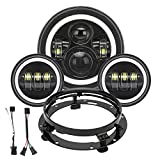 SUPAREE 7 Inch LED Headlight + 2Pcs 4.5 Inch Fog Lights Kit with DRL and Turn signal HALO for Road King, Road Glide, Electra Glide, Street Glide, Ultra Limited with Bracket Mounting Ring