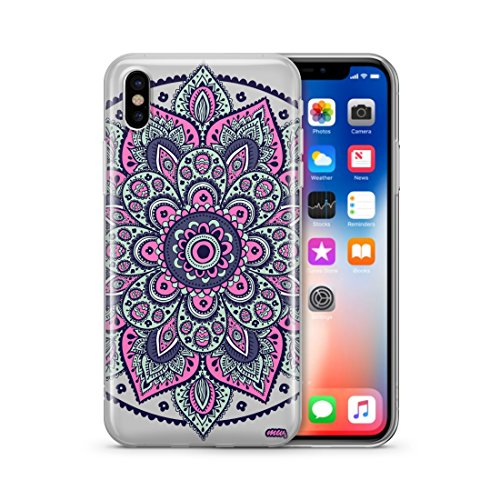 iPhone X Case, MILKYWAY CASES Clear TPU Soft Slim Flexible Silicone Cover Phone case for Apple iPhone X [Support Wireless Charging] - DAKOTA MANDALA