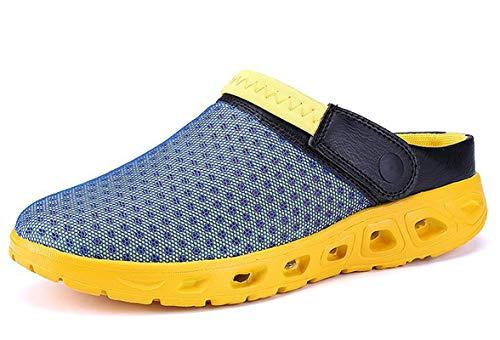 CELANDA Pantoffeln Unisex Clogs Atmungsaktiv Mesh Hausschuhe Sommer Strand Sandalen rutschfest Badeschuhe Gartenschuhe Slip-On Aqua Schuhe für Herren Damen Blau Gelb Größe: 46 EU