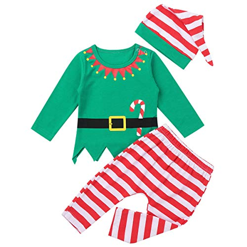 Freebily Ropa Conjunto Bebé Niña Niño Recien Nacido Elfo Disfraz de Duende Bebé Navidad Camisa Top Manga Larga con Pantalón Rayada Gorro de Santa Verde 12-18 Meses