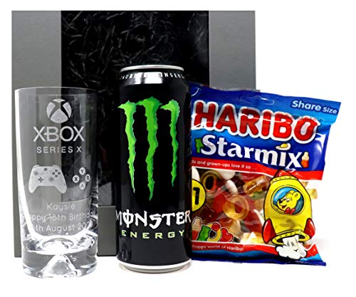 Set de regalo personalizado para bebidas y dulces de hoyuelos Highball - Xbox Series X Design (Monster Can)