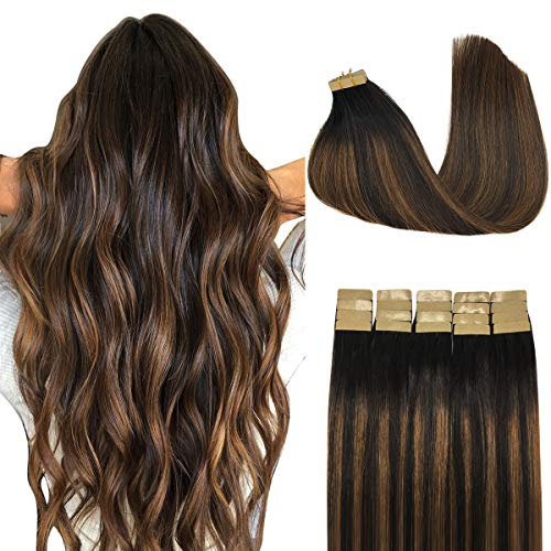 Doores 20pcs 50g Human Hair Extensions Tape in Remy Ombre Dark Brown to Chestnut Brown Natural Hair Extensions Tape in Hair Extensions Seamless Straight Real Hair Extensions 14 Inch