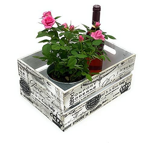 DanDiBo Caja de madera vintage de 34,5 cm, caja de fruta M, caja de vino antigua, decorativa de madera, 96177, color blanco y negro, con patrón