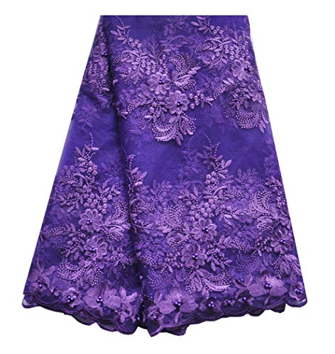 SanVera17 African Lace Net Fabrics Nigerian French Fabric Embroidered and Manual Beading Guipure Cord Lace for Party Wedding 5 Yards (Purple)
