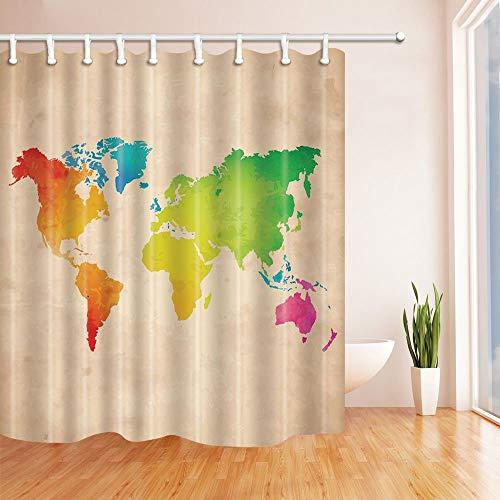 LRSJD Bunte Weltkarte Duschvorhang 71X71 Zoll Polyestergewebe Badezimmer Fantastische Dekorationen Badvorhänge Haken enthalten