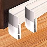 Door Bottom Seal 2 Packs,Under Door Draft Stopper Seals Anti-Collision Strong Adhesive Weather Stripping Tape Soundproof Draught Stoppers White 2PC 2' W x 39' L