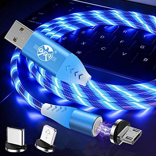 UGI 3-In-1-Magnet-3A-Schnellladekabel Kreative LED-Leuchte Micro-USB/IOS/Typ USB C-Datensynchronisierung Magnetisches Ladekabel Kompatibel mit Allen Geräten - Blau/3.3ft