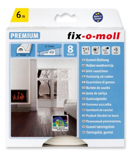 fix-o-moll P-Profildichtung 6 m, 5,5 x 9 mm selbstklebend weiß, 3565254