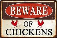 屋外の鶏に注意してくださいレトロなアルミニウムヴィンテージメタルプラーク錫サイン12x8インチ