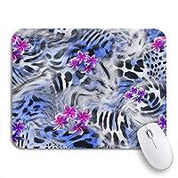 ROSECNY 可愛いマウスパッド Backgroパターンの縞模様のヒョウの花の青い動物ノートブックマウスマット用滑り止めゴムバッキングコンピューターマウスパッド