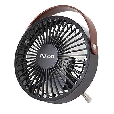 Pifco P55003 Mini Fan, USB Fan, Compact and Lightweight, Desk Fan, Leather Strap Detail, Plastic, Black