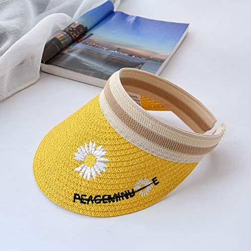 Children's daisy empty straw hat, parent-child summer outing, sunshade cap, boys and girls breathable without top hairpin hat