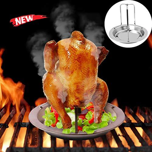 Support de rôtissoire de poulet, support de poulet rôti Rack de rôtissoire vertical en acier inoxydable Support de barbecue Grill Pan Kitchen , Dining & Bar